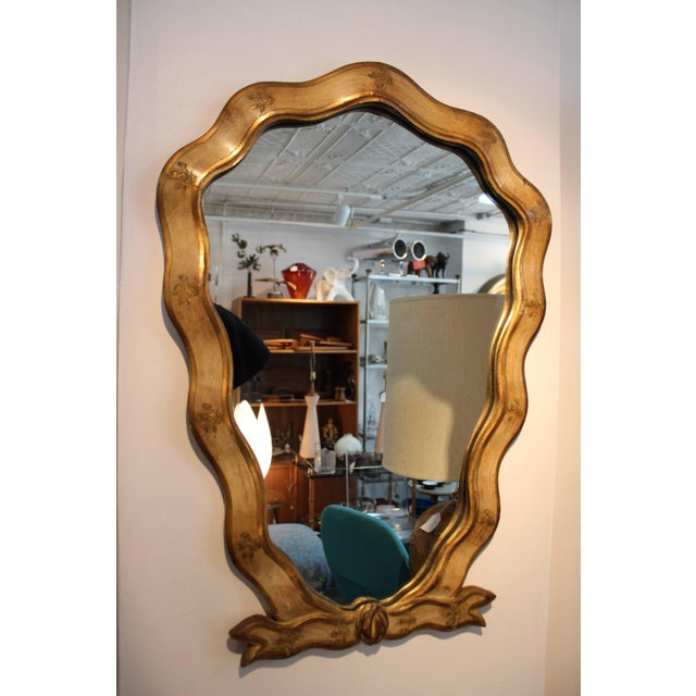 1940s wood frame Italian mirror with matching console. Console measurements: height 25''. depth 12''. width 23.5.