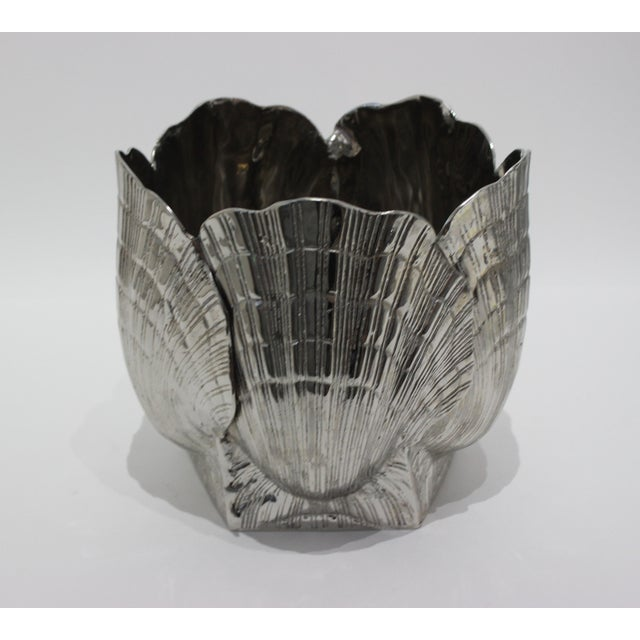 """Nickel Plated Bronze Clamshell 9"""" Cachepot or Ice Bucket For Sale - Image 9 of 10"""