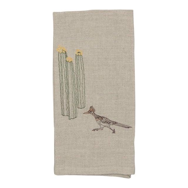 Roadrunner and Organ Pipe Cacti Tea Towel For Sale