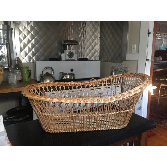 Wicker Vintage Mid-Century French Laundry Basket For Sale - Image 7 of 7