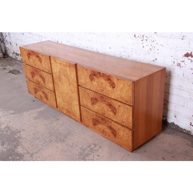 Lane Furniture Milo Baughman Style Burl Wood Long Dresser or Credenza by Lane For Sale - Image 4 of 13