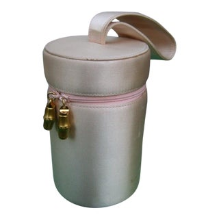 1980s Gucci Pale Pink Silk Cylinder Evening Bag For Sale