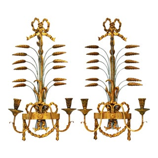 Louis XVI Style Carved Giltwood Wall Sconces by Palladio, Italy - a Pair For Sale