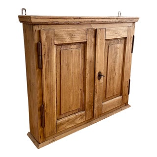 Antique French Country Primitive Wood Spice Cabinet For Sale