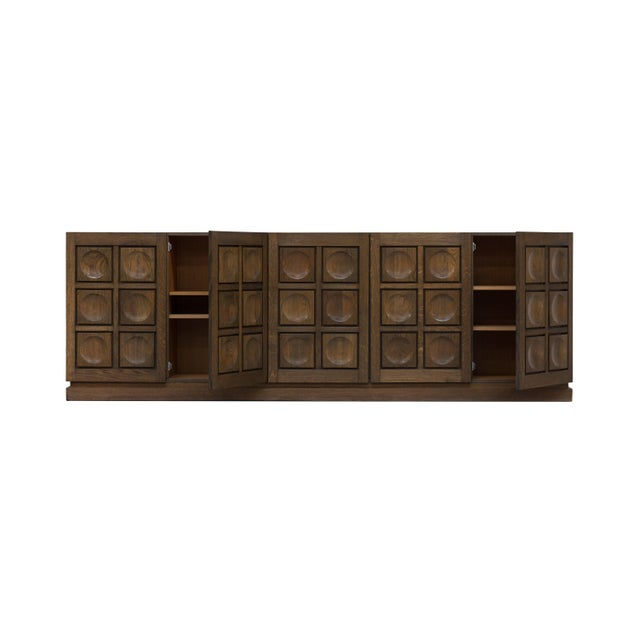 Brutalist Brutalist Stained Oak Credenza, 1970s For Sale - Image 3 of 11