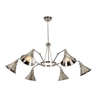 Provence 6-Arm Chandelier in Polished Nickel For Sale