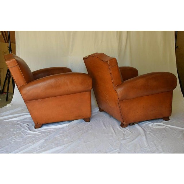 1930s Leather Moustache Leather Club Chairs - a Pair For Sale - Image 11 of 13