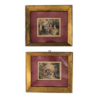 Vintage Gold Framed Lancret Prints - a Pair For Sale