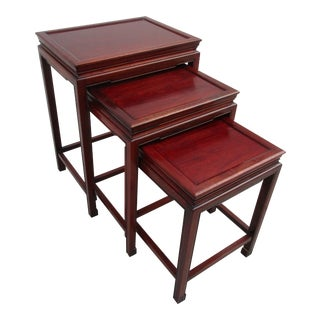 Vintage Chinoiserie Style Rosewood Nesting Tables -Set of Three