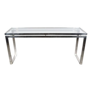 Mid-Century Modernist Chrome and Glass Console or Sofa Table by Milo Baughman For Sale
