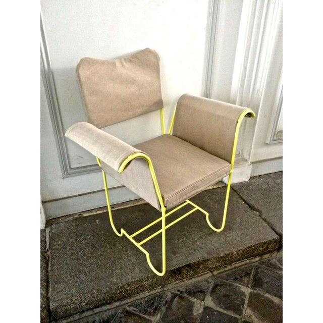 """Contemporary Mathieu Mategot Rare Set of 4 Arm Chairs Model """"Tropiques"""" For Sale - Image 3 of 7"""