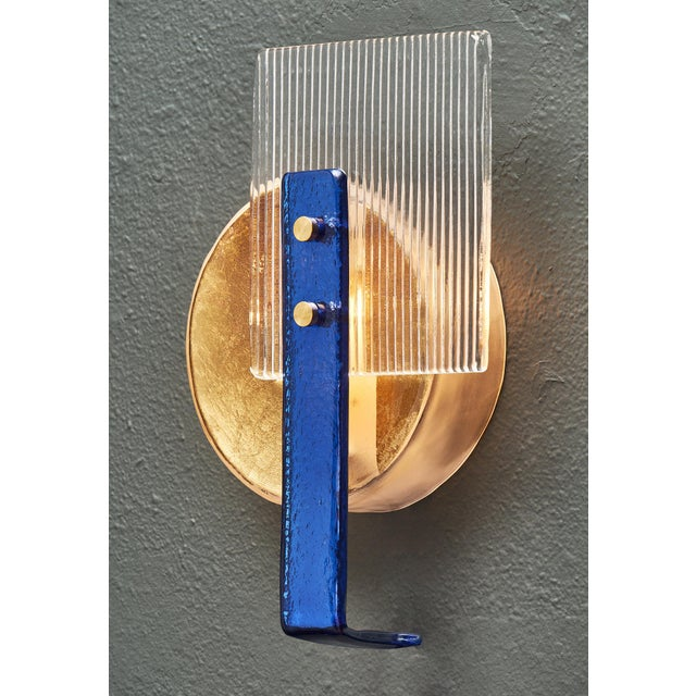 Murano Glass Cobalt and Gold Sconces For Sale - Image 4 of 10