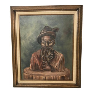 1970's Vintage Old Man With a Beard and a Pipe Painting by Dot Rude Golightly For Sale