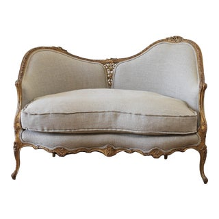 20th Century Carved Giltwood Settee Upholstered in Irish Nubby Natural Linen For Sale