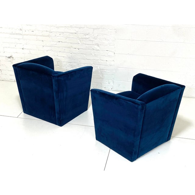Post Modern Angular Barrel Back Lounge Chairs - a Pair For Sale In Chicago - Image 6 of 8