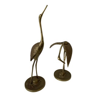 Brass Crane Figurines - a Pair For Sale