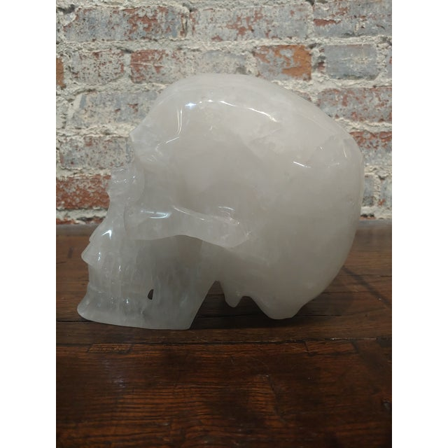 Vintage Quartz Rock Crystal Skull Sculpture For Sale - Image 9 of 11