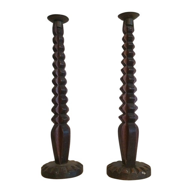 Carved Wooden Candlesticks - A Pair - Image 1 of 6