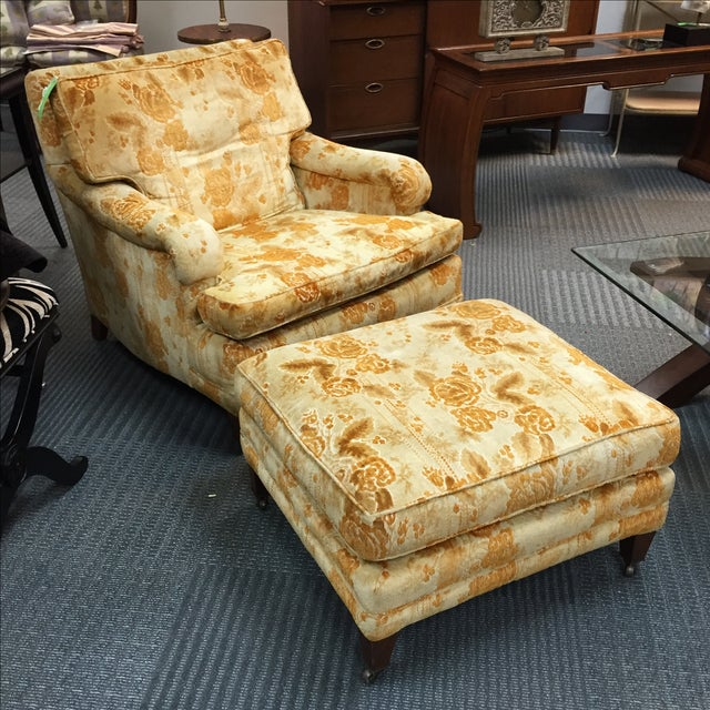 Mid-Century Golden Floral Chair & Ottoman - Image 2 of 4