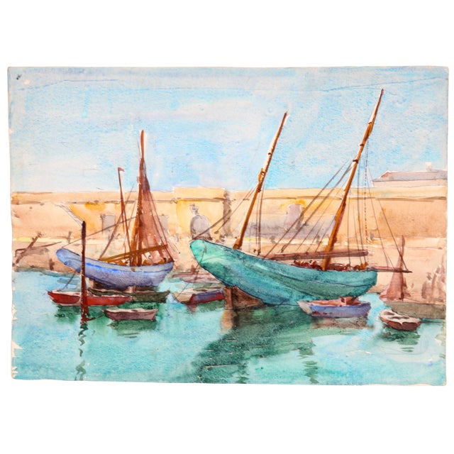 """""""Ships Docked, France"""" Watercolor Painting - Image 1 of 2"""