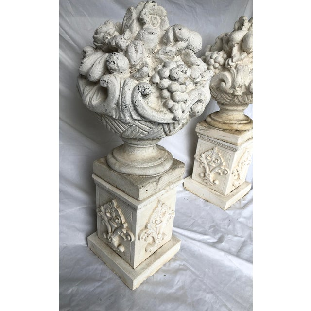 Vintage Mid Century Cast Stone Fruit Basket Finials on Pedestals- a Pair For Sale - Image 4 of 11