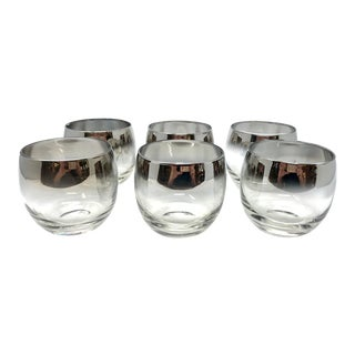 Set of 6 Mid-Century Silver Fade Roly Poly Glasses For Sale