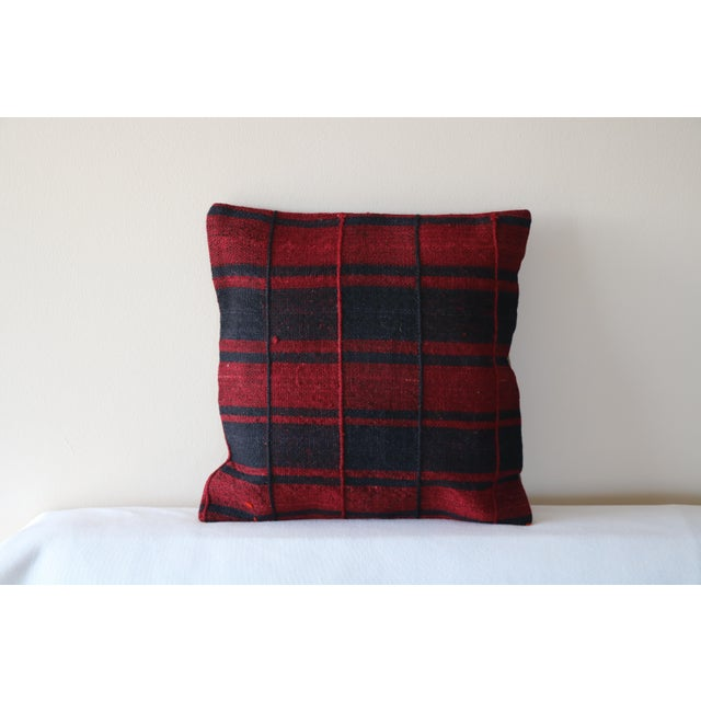 Boho Chic Red Turkish Kilim Pillow For Sale - Image 3 of 5