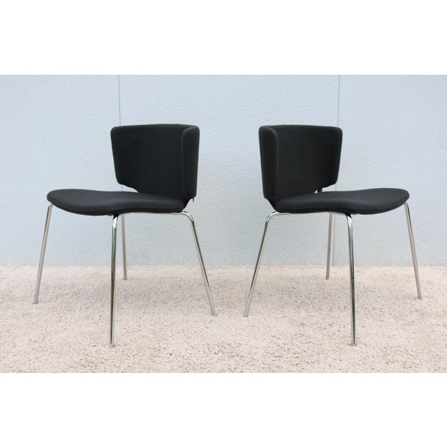 Steelcase Modern Spain Mark Krusin for Coalesse Wrapp Stackable Black Guest Chair For Sale - Image 4 of 13