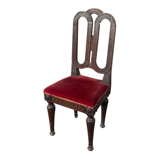 Antique French Oak Dining Chair With Red Velvet Seat For Sale