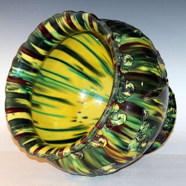 1920s Large Awaji Pottery Japanese Sancai Flambe Jardiniere Planter Bowl For Sale - Image 5 of 9