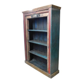 Indonesian Painted Wood Bookshelf For Sale