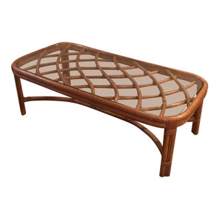 Vintage Modern Long Bamboo Coffee Table For Sale