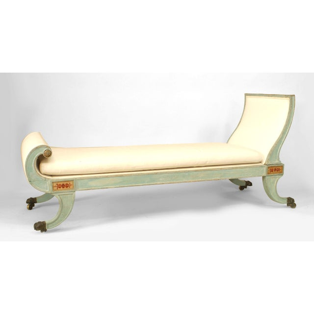 Italian Neoclassic Blue Painted Récamier For Sale - Image 4 of 4