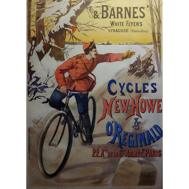 French Gaston Fanty-Lescure Rare 1896 French Bicycle Poster For Sale - Image 3 of 9