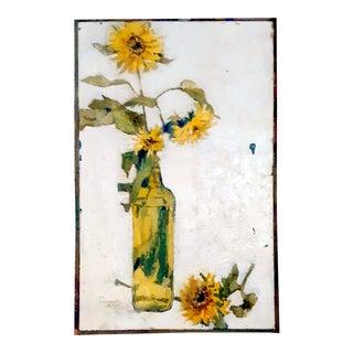 "1963 ""Sunflowers in Bottle"" Still Life Oil Painting For Sale"
