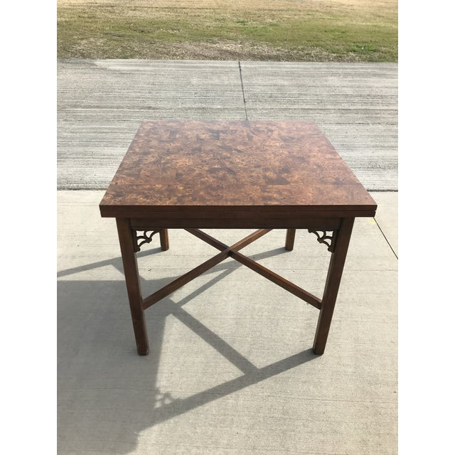 1960s Chippendale Patchwork Burl Wood Flip Top Game/Dining Table For Sale - Image 11 of 12