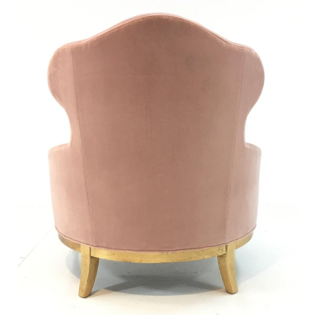 2010s Henredon Pink Velvet Sycamore Club Chair For Sale - Image 5 of 6