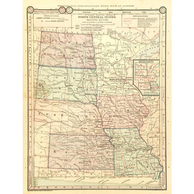 Antique 1889 Map of North Central United States - Image 4 of 4