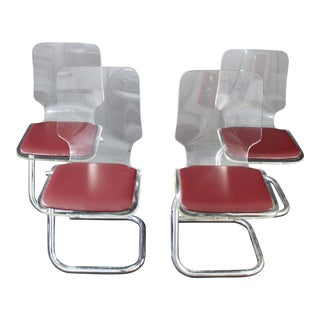 Luigi Bardini for Hill Mid-Century Modern Lucite Dining Chairs - Set of 4 For Sale