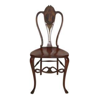 Antique French Art Nouveau Side Chair With Portraiture