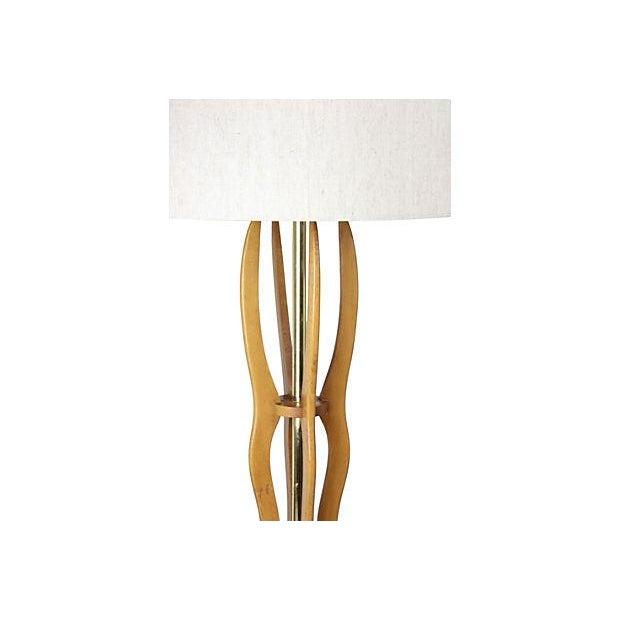 Paul Hanson Tall Mid Century Teak Table Lamp - Image 2 of 5