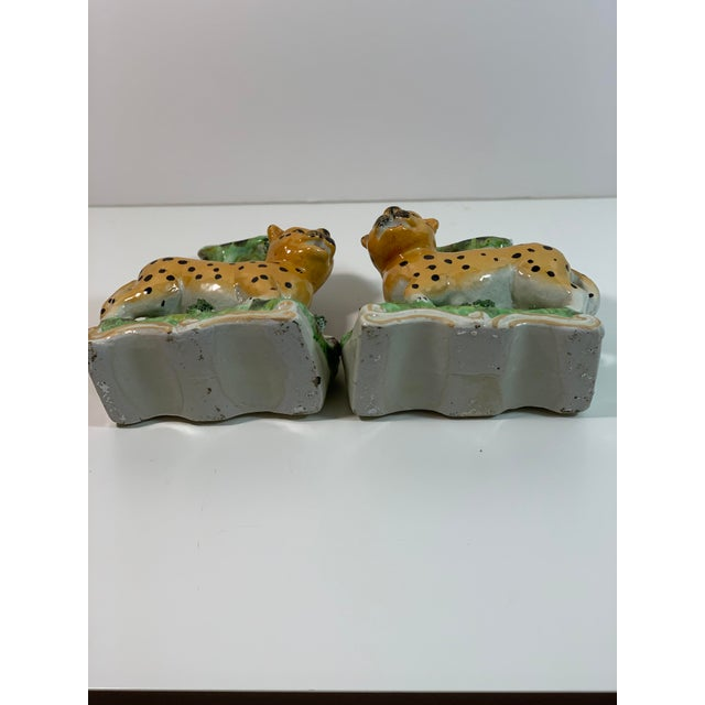 Vintage Staffordshire Style Leopard Spill Vases - a Pair For Sale - Image 10 of 11