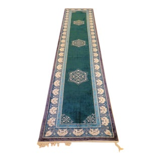 1970s Vintage Chinese Silk Runner Rug - 2′2″ × 11′2″ For Sale