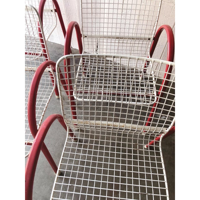 Red 80's Vintage Designer Arc Grid Patio Chairs For Sale - Image 8 of 12
