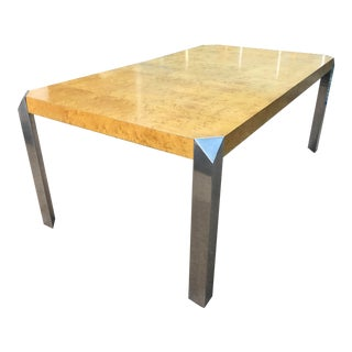 1970s Baughman Burled Wood + Polished Aluminum Dining Table by Baker For Sale