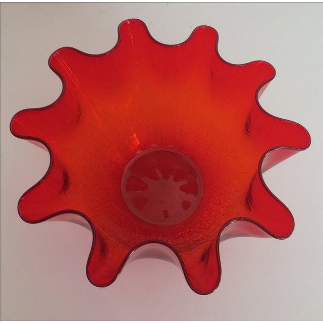 Vintage Red Blenko Crackle Glass Vase - Image 4 of 11