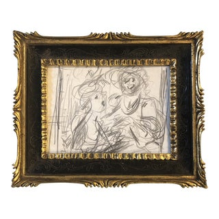 Original Vintage Figural Pencil Sketch Ornate Frame For Sale