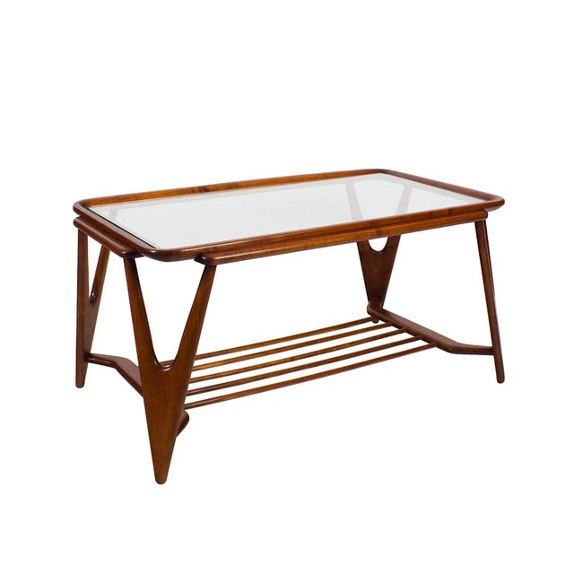 Large coffee table, solid cherry wood, waxed shellac finition, original glasses. Italy 1945-50