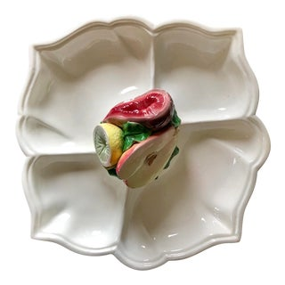 Vintage Italian Trompe l'Oeil Fruit Platter For Sale