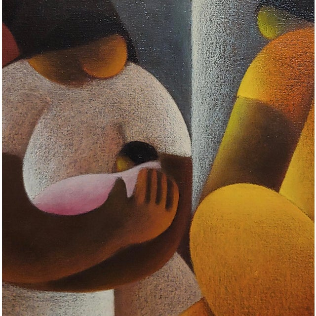 Mediterranean Victor Manuel Cancino -Family With Child-Mexican Cubist-Oil Painting For Sale - Image 3 of 9